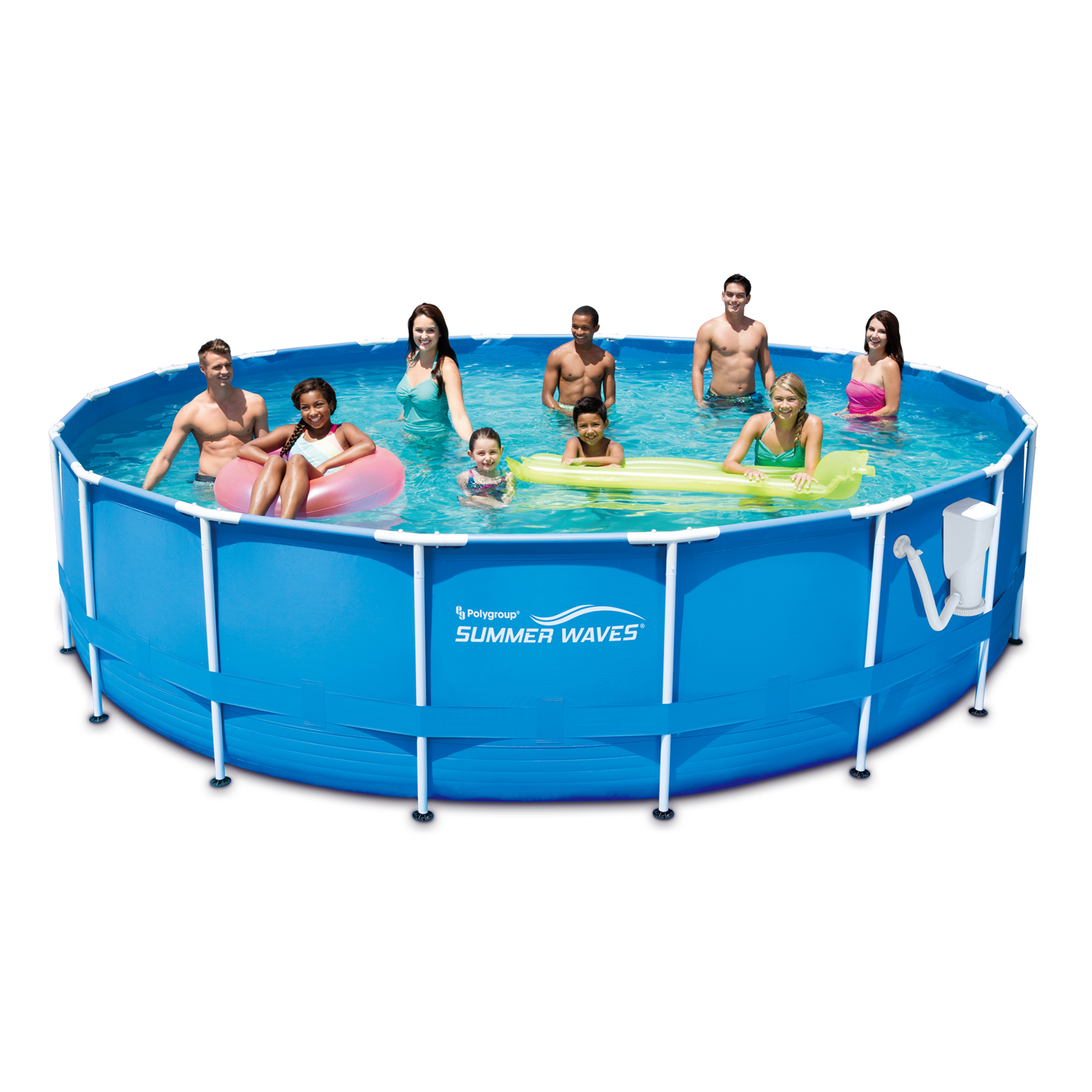 "Summer Waves 18' x 48"" Metal Frame Above Ground Swimming Pool with Filter Pump System And Deluxe Accessory Set"