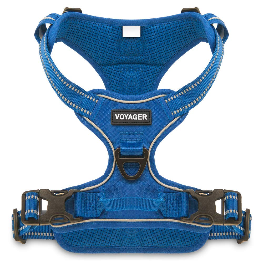 Voyager by Best Pet Supplies Black, Small Dual-Attachment No-Pull Adjustable Harness with 3M Reflective Technology,