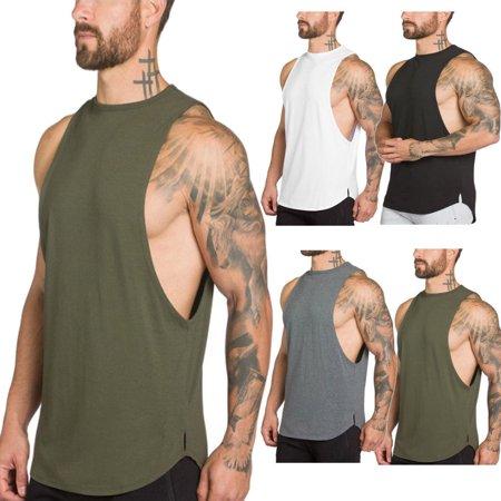 52236ce67615f Mens Gym Bodybuilding Muscle Fit Stringer Tank Tops Racer-back T-Shirt Vest
