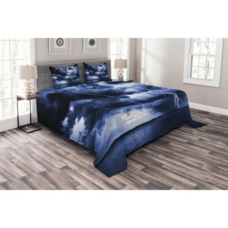 Nature Bedspread Set, Majestic Sky View with Huge Rain Clouds All over the  Sea and Vibrant Storm Rays Print, Decorative Quilted Coverlet Set with
