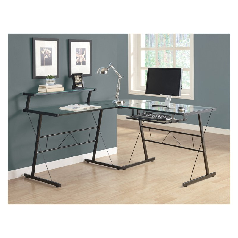 Monarch Black Metal L Shaped Computer Desk With Tempered Glass Com