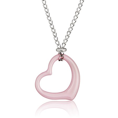 Pink Ceramic Heart Stainless Steel Pendant Necklace (2mm) - 18