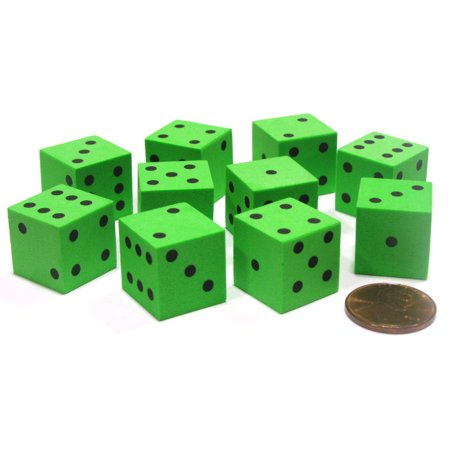 Koplow Games Set of 10 D6 16mm Foam Dice with Square Corners - Green with Black Spots #16794