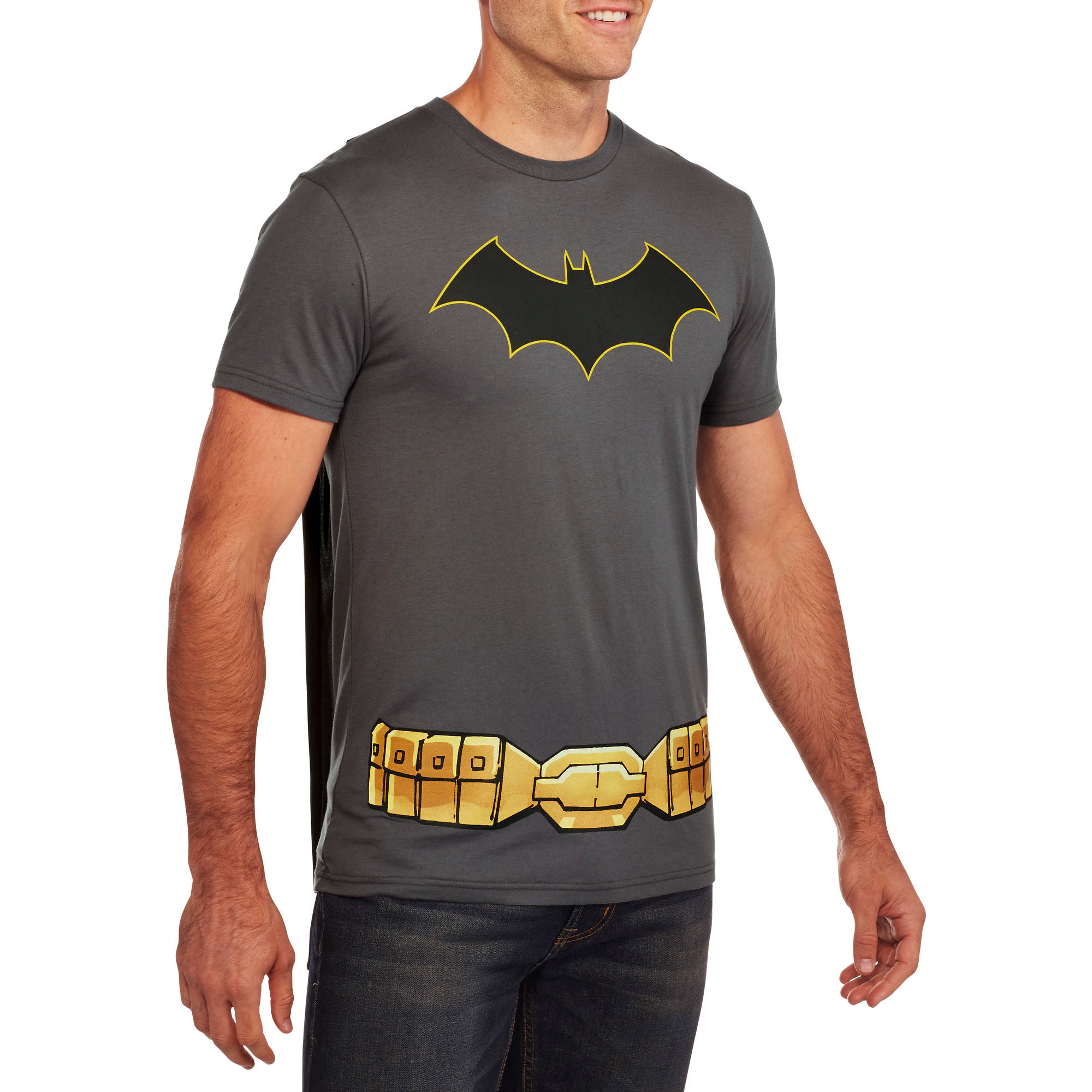 Batman Logo Big Men's Graphic Tee with Cape, 2XL by