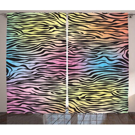 Zebra Print Decor Curtains 2 Panels Set, Colorful Zebra Pattern Wild ...