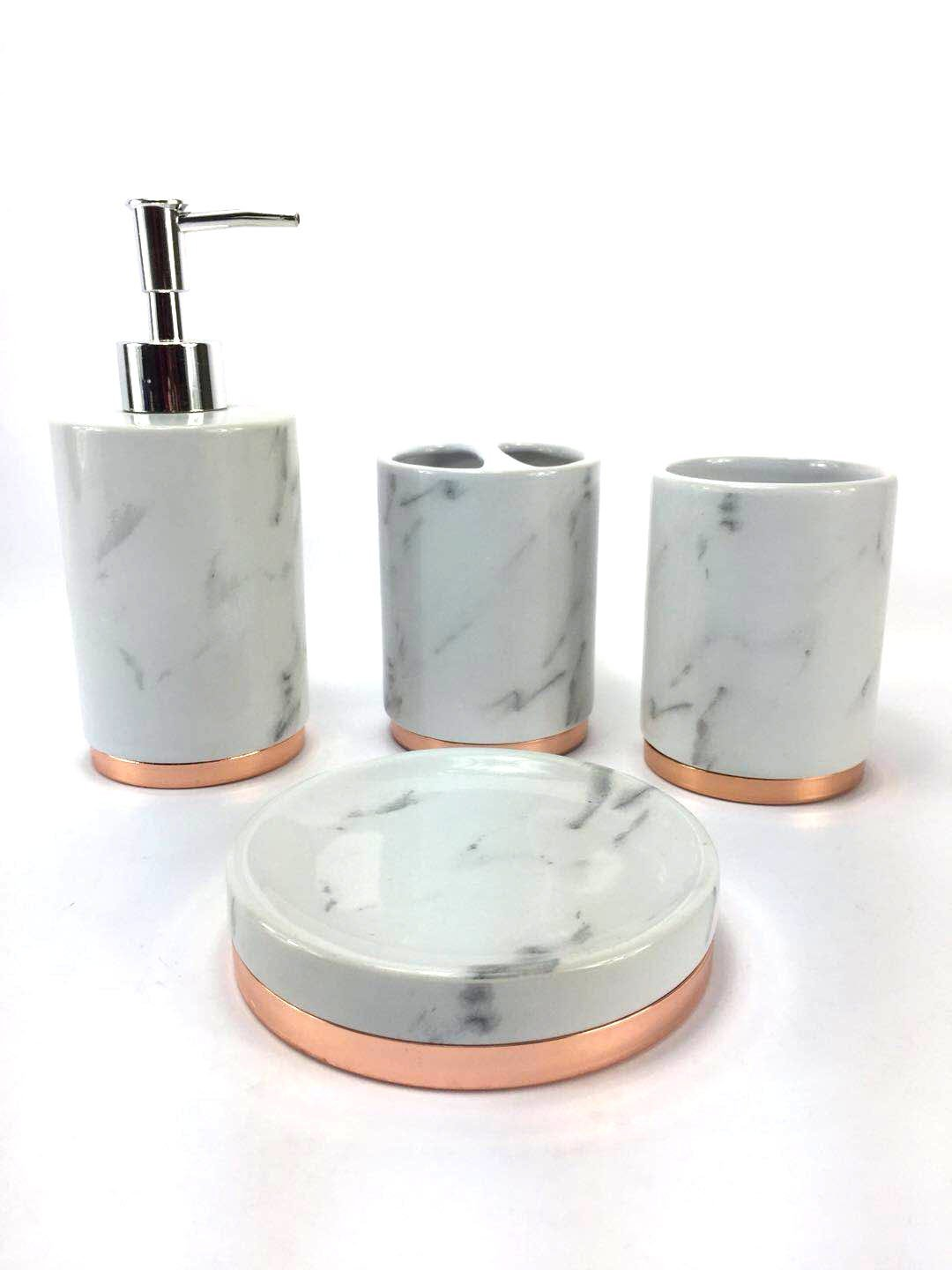 WPM 11 Piece Bathroom Accessory Set. Marble look with rose gold trim French  Provincial Bath Gift Set includes liquid soap/lotion dispenser, toothbrush