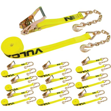 Vulcan Classic Ratchet Strap With Chain Anchors - 3,600 lbs. Safe Working Load (2'' x 30' - Pack of 10) ()