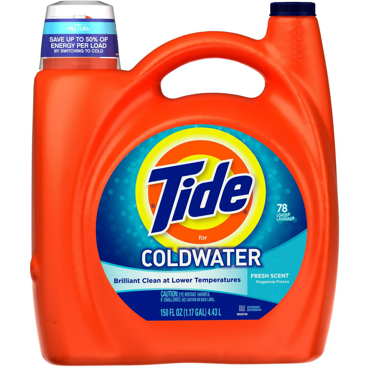 Tide Liquid Laundry Detergent For Cold Water, Fresh Scent, 150 fl oz
