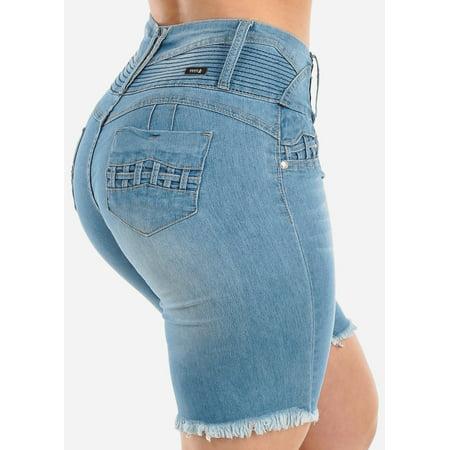 Womens Juniors Casual Summer Low Rise Butt Lifting Levanta Cola Push Up Ripped Distressed Raw Hem Cut-Off Light Blue Wash Jean Denim Bermuda Shorts 10942W