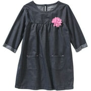 Toddler Girl Chambray Elbow Sleeve Pocket Detail Dress