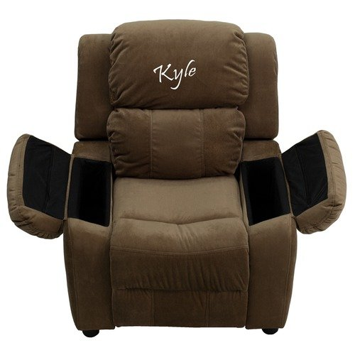 Flash Furniture Personalized Deluxe Heavily Padded Brown Microfiber Kids Recl...