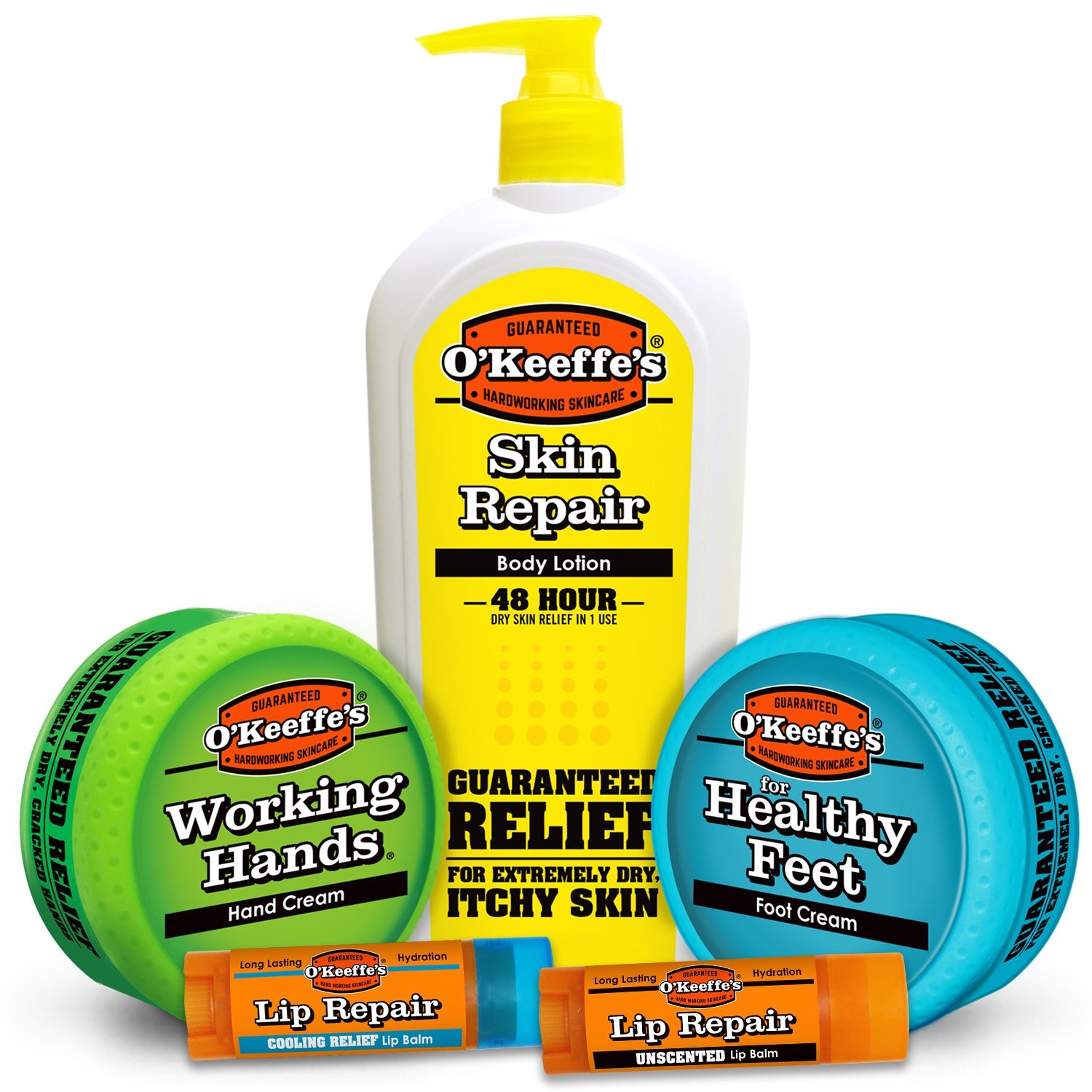 O'keeffe's Hard Working Variety Pack (Hands, Feet, Pump Lotion, Original and Cooling Lip Repair)