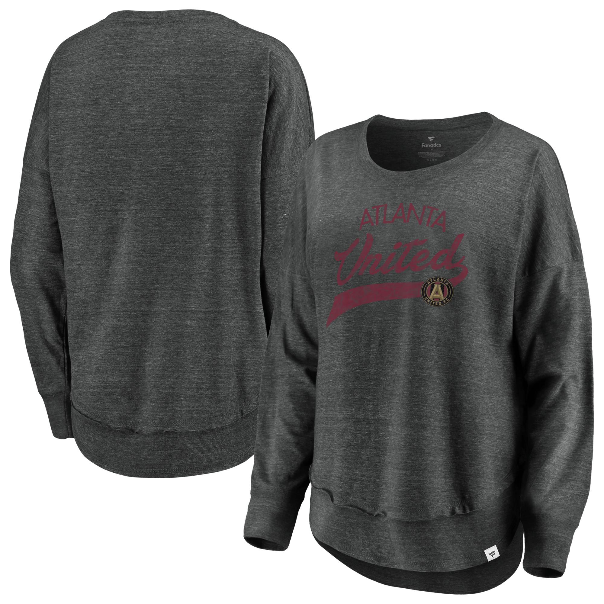Atlanta United FC Fanatics Branded Women's Plus Size True Classics Amaze Long Sleeve Tri-Blend T-Shirt - Charcoal