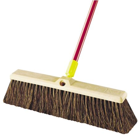 Quickie 00526 Rough Sweep Push Broom With Handle, Stiff Palmyra Fiber Bristle, 18 in Resin Block, 15