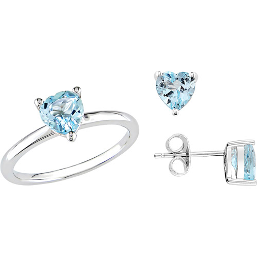 2-4/5 Carat T.G.W. Sky Blue Topaz Sterling Silver Heart Ring and Earrings