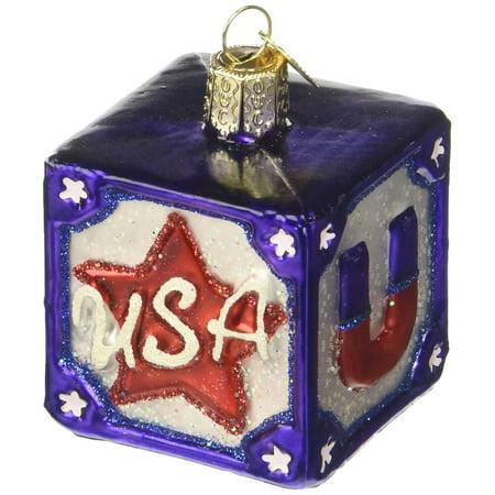 Christmas Glass Blocks - Old World Christmas USA Block Glass Blown Ornament