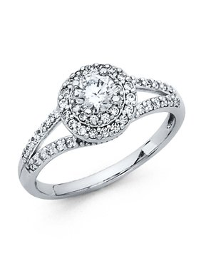 14K Solid White Gold Cirque Halo Round Brilliant Cut Solitaire with Round Side Stones Cubic Zirconia Engagement Ring , Size 8.5