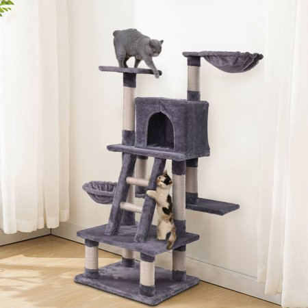 Gymax 46'' Cat Tree Kitten Pet Play House Furniture Condo Scratching Posts Rope Ladder