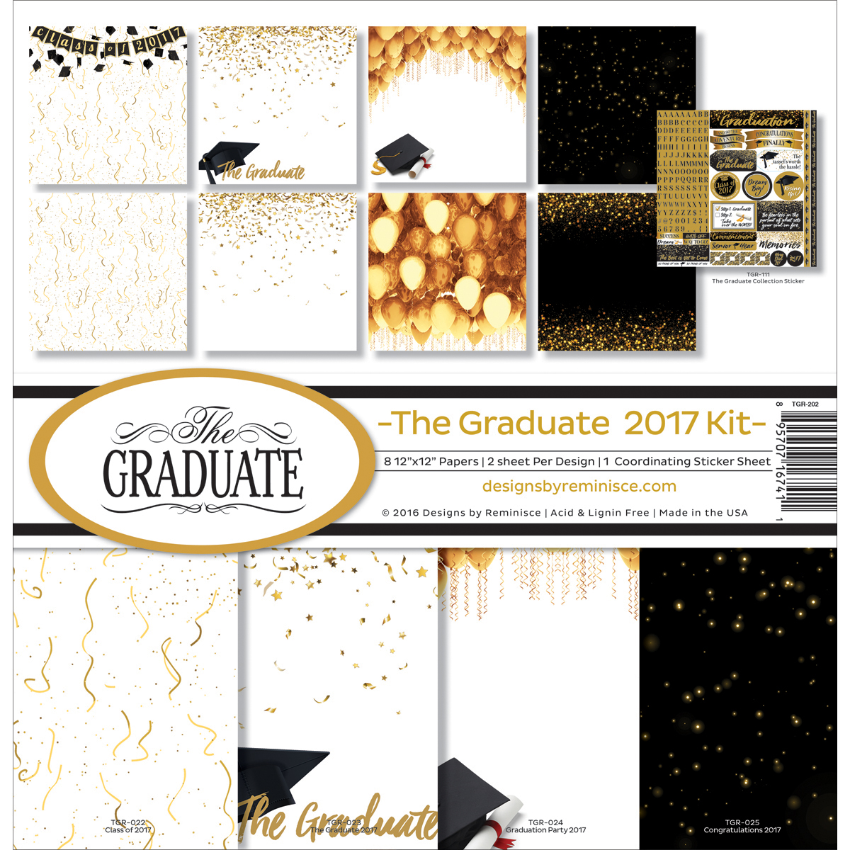 """Reminisce TGR202 Reminisce Collection Kit 12""""X12"""" - The Graduate 2017"""