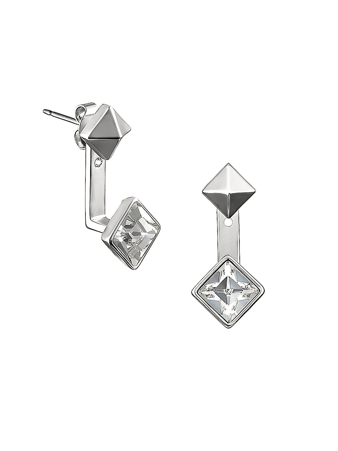 Pyramid Swarovski Crystal and Crystal Jacket Earrings