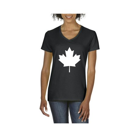 Canada White Maple Leaf Canadian Women's V-Neck T-Shirt Tee Clothes