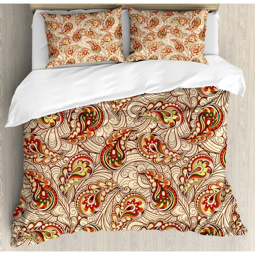 Ordinaire Ambesonne Fall Leaves In Ethnic Paisley Folkloric Original Indian Culture  Inspired Motif Duvet Set