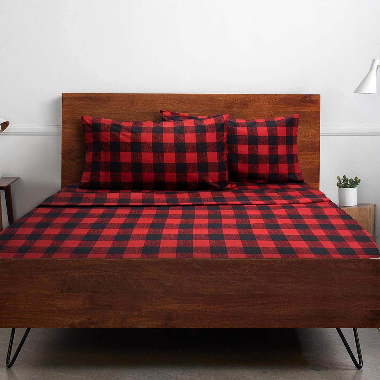 1500 Supreme Collection Buffalo Plaid Black Red 4 Pc Bed Sheet Set Walmart Com Walmart Com