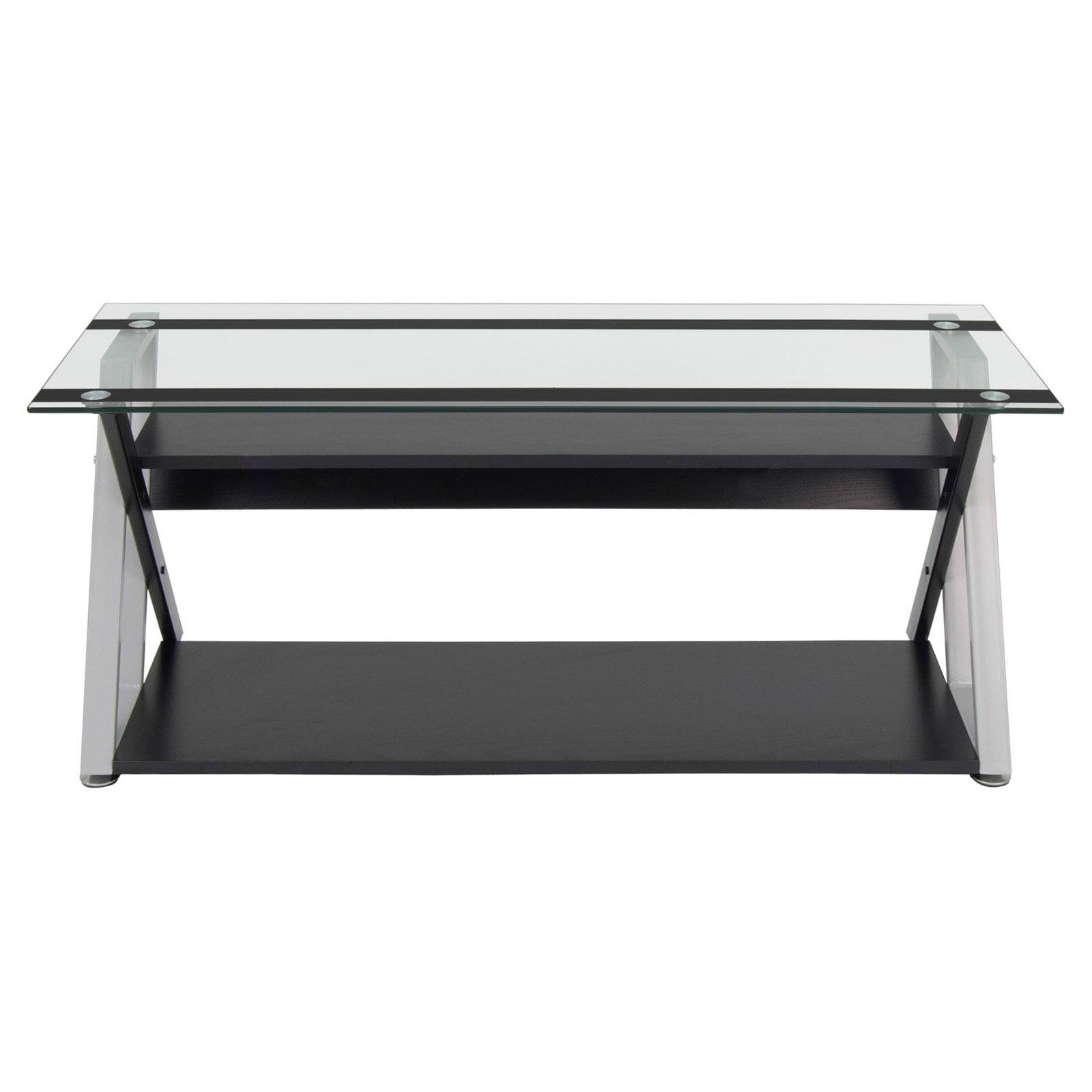 Calico Designs Colorado 47 Tv Stand Black Silver Clear Glass