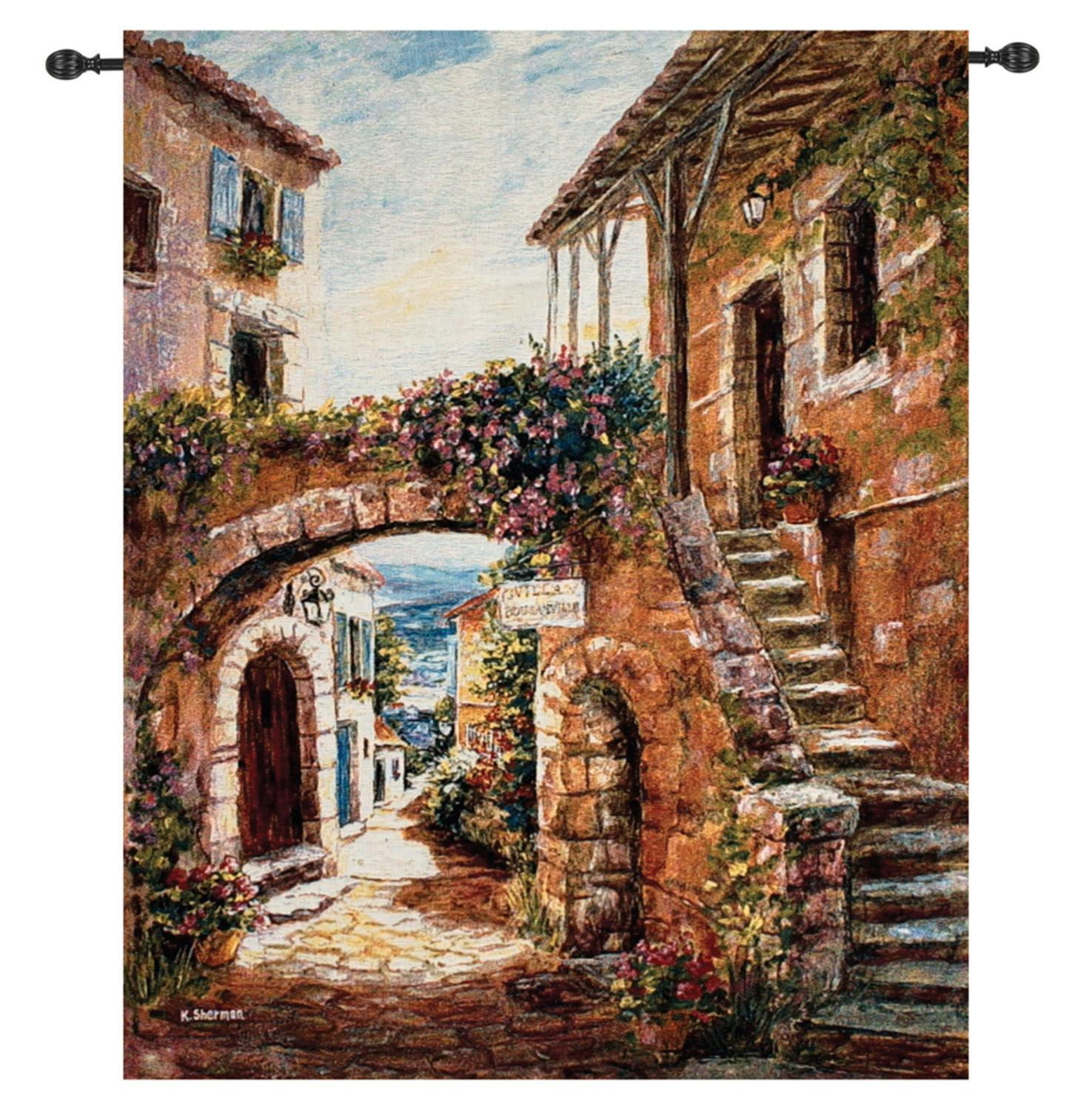"Walk Back in Time Italian Village Cotton Wall Art Hanging Tapestry 41"" x 35"""