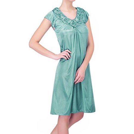 Women's Satin Silk Roses Nightgown - Silk Christening Gowns