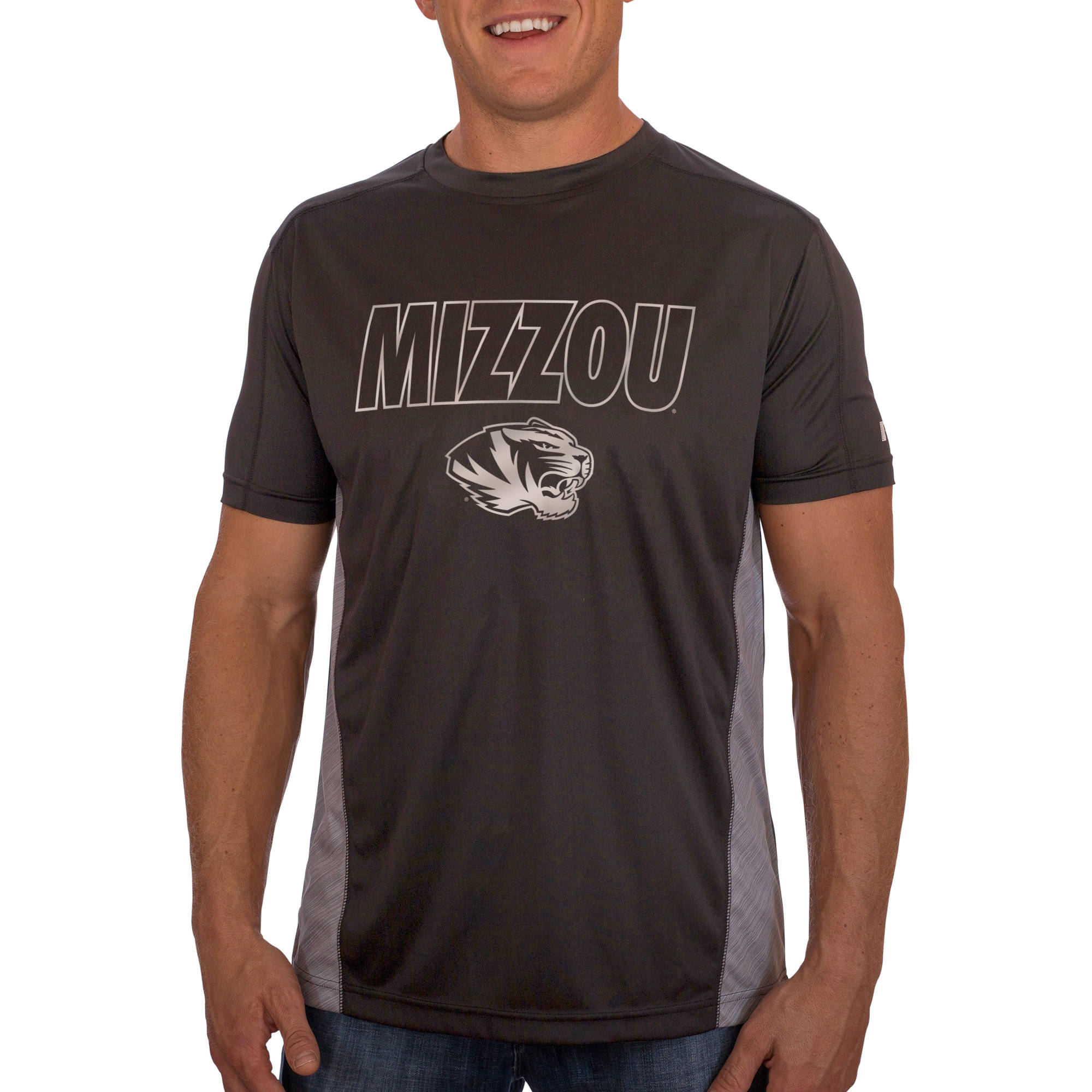 Russell NCAA Missouri Tigers Men's Athletic Fit Black / Storm Gray Impact Tee