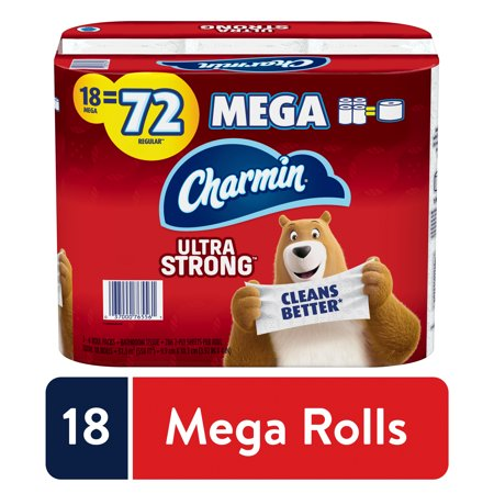 Charmin Ultra Strong Toilet Paper, 18 Mega Rolls, 5148 Sheets