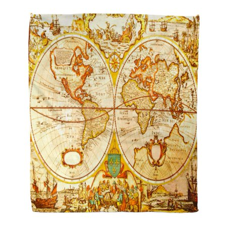 ASHLEIGH Flannel Throw Blanket Old World Antique Map of The Treasure Ancient Discovery USA Travel 50x60 Inch Lightweight Cozy Plush Fluffy Warm Fuzzy Soft ()