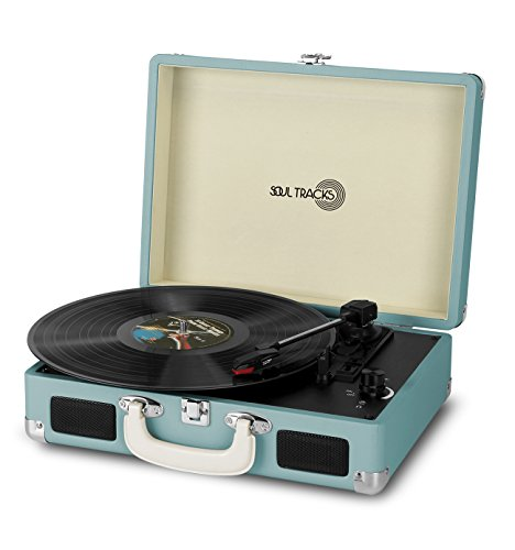 Photive SoulTracks Portable 3-Speed Turntable built in Speakers. Vinyl Stereo Record Player. Fully Automatic Belt-Drive Briefcase Styled Design Record Player. Classic Styled Turntable Player