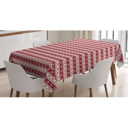 Christmas Decorations Tablecloth Norwegian Scandinavian Traditional Borders Reindeer Striped Flower Rectangular Table Cover For Dining Room Kitchen