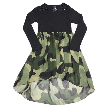 Flowers by Zoe - Little Girls Long Sleeve Dress - 14 Styles to Choose - 30 Day Guarantee Black Army Camo / 5