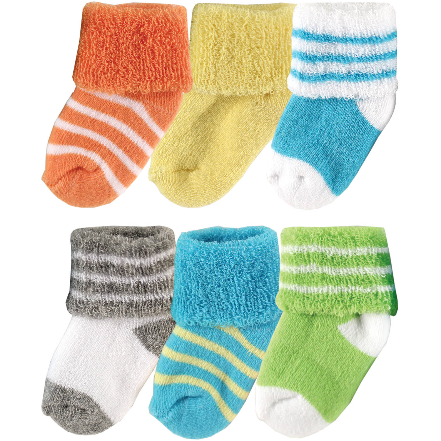 Luvable Friends Newborn Baby Neutral Socks in Washbag 6-Pack