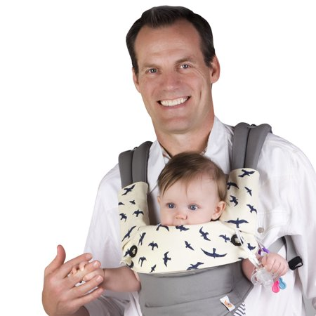 Drool & Teething Pad for Ergobaby Four Position 360 Baby Carrier, 3 Piece Set (Carrier NOT included) Baby drool is inevitablebut soiling your EXPENSIVE ERGObaby carrier isnt! Protect that carrier with this darling teething pad trio. The 3-Piece Drool and Teething Pad Set by Baby Preferred is a STYLISH way to guard your infant carrier against chewing, drooling, and spit-up when youre on the go. This practical accessory trio includes:   One bib that easily attaches to the front of the carrier.   2 wrap-around drool pads for the straps.  Naturally durable cotton thats soft against your little chewers gums yet durable against tiny teeth!   A waterproof lining that helps keep moisture away from your carrier. Instead of having to throw your entire carrier into the washing machine, you can simply wash our teething pads and reuse them again and again.  Our teething pads have been thoughtfully designed by a been-there, done-that mom who knows its the little things that make parenting easier. These are FUNCTIONAL accessories that save you money (because they actually perform as intended!). Plus, they feature an ADORABLE NAVY SEA BIRDS-ON-IVORY PRINT thats ideal for both boys and girls. What a fun and unique way to jazz up a plain carrier! This teething pad set makes a FANTASTIC BABY SHOWER or NEW BABY GIFT for mom or dad.  *** YOUR PURCHASE HELPS CHILDREN AROUND THE WORLD! *** A percentage of every sale is donated to [St. Jude Childrens Research Hospital]. Click ADD TO CART to buy now!
