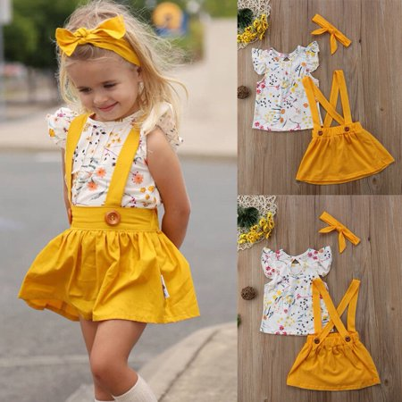 2018 Toddler Girls Baby Clothes Floral Tops+Belt Skirt Dress 3PCS Outfits Set - Holiday Clothing For Toddlers