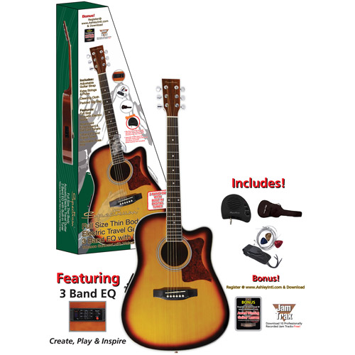 "Spectrum 41"" AIL-261AE Thin Body Travel Acoustic Electric Guitar, Tobacco Sunburst"