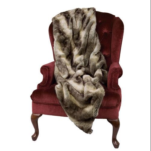 """50"""" x 60"""" Extra Soft Luxurious Faux Fur Chinchilla Throw Blanket with Suede Bottom"""