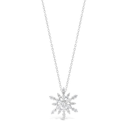 "Lavari - Sterling Silver Snowflake Pendant Necklace Cubic Zirconium 18"" Adjustable Chain"