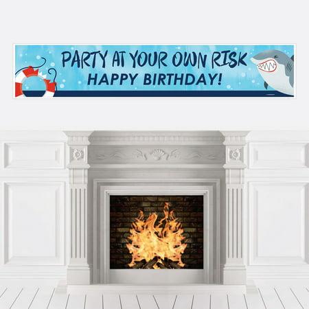 Shark Zone - Jawsome Shark Party Decorations Party Banner - Shark Birthday Party Decorations