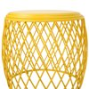 Alejandro Outdoor 19 Inch Diameter Lattice Iron Side Table,Yellow