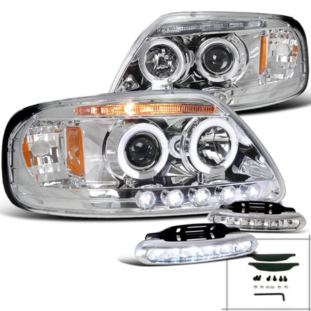 Spec-D Tuning For 1997-2003 Ford F150 Chrome Halo Projector Headlights + Led Driving Fog Lamps (Left+Right) 1997 1998 1999 2000 2001 2002 2003