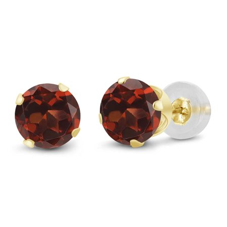 2.00 Ct Round Garnet 10K Yellow Gold Stud Earrings (6 Mm Garnet Earring)