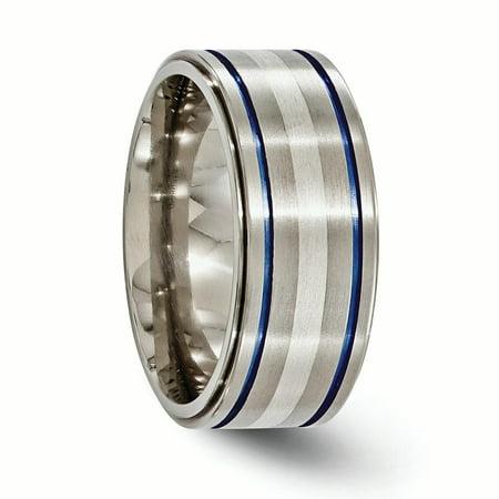 Edward Mirell Titanium w/Argentium Sterling Silver Anodized 10mm Band Size 14 - image 1 de 4