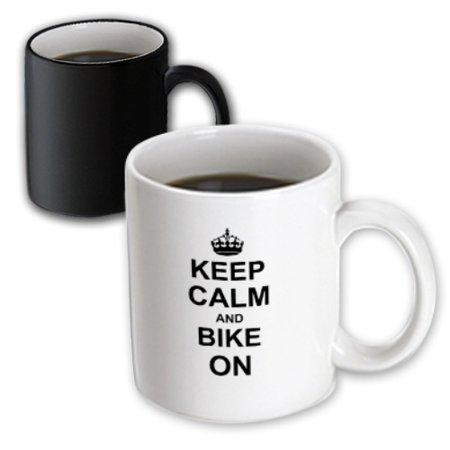 3dRose Keep Calm and Bike On - black - motivational motivating carry on biking cycling bicycle biker cycler, Magic Transforming Mug, -