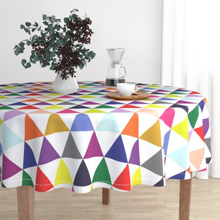 Round Tablecloth Geometric Mod Triangles Colorful Quilting Kids Cotton Sateen