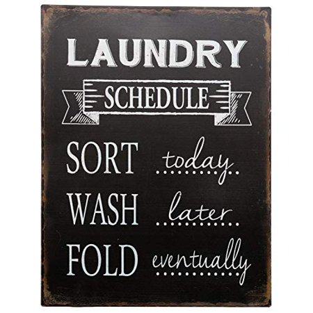 Barnyard Designs Laundry Schedule Sign Sort Wash Fold Retro Vintage Tin Sign Laundry Room Country Home Decor 13